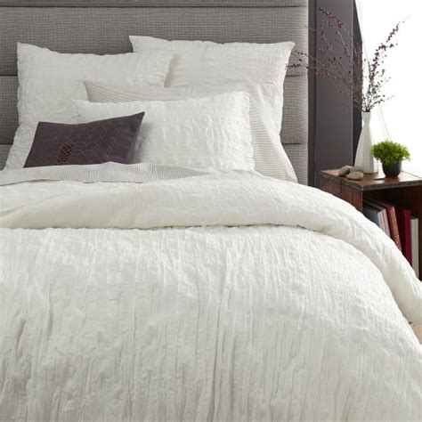 Duvet Cover Smaller Than Comforter by Crinkle Duvet Cover Shams White West Elm