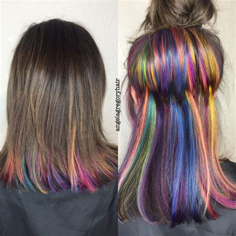 hair color highlighted with dark color underneath how you can wear rainbow hair to work the singapore