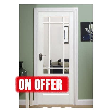 Downham White Primed Glazed Internal Door   On Offer Doors