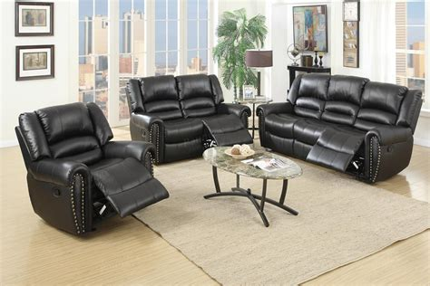 black leather recliner sofa set 2 pcs black leather recliner sofa set