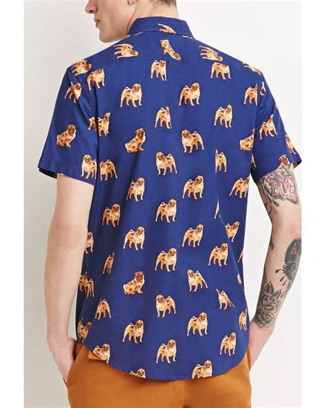 pug t shirts india forever 21 pug print shirt in blue for blue lyst
