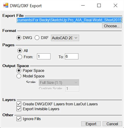 sketchup layout export autocad exporting or printing your layout document sketchup