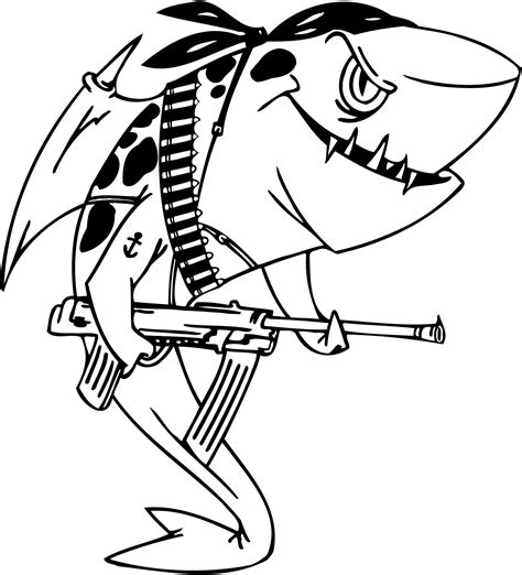 printables coloring pages of a military shark for kids
