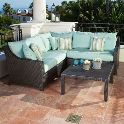Patio Sectional Sofa Rst Brands Deco 4 Patio Sectional Set With Bliss Blue Cushions Op Pess4 Bls K The Home Depot