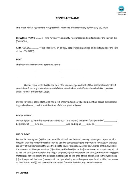 Boat Rental Agreement Template Templates At Allbusinesstemplates Com Drop Shipping Contract Template