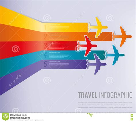 Travel Infographic Template With Colorful Airplanes Vector Illustration Stock Vector Image Travel Infographic Template