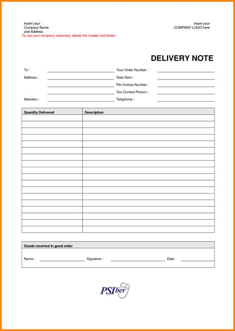 6 sle delivery note bookkeeping resume