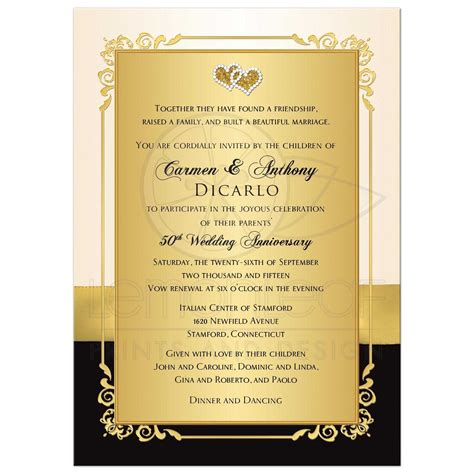 invitation cards for wedding anniversary golden wedding anniversary invitation golden wedding