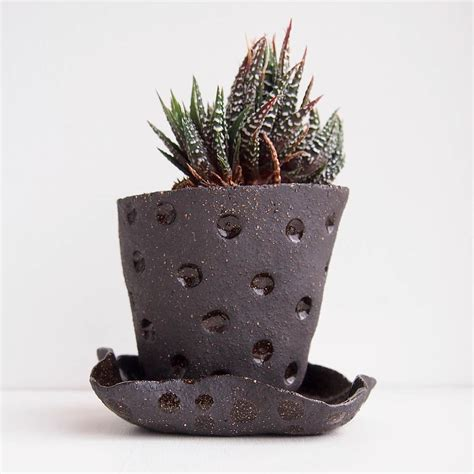 Pot Polka Pot Polkadot Black White handmade black ceramic polka dot planter plant pot by