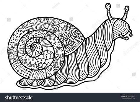 garden snail coloring page cute ornate zentangle garden snail coloring stock vector