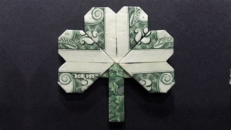 Money Paper Folding - how to make an origami 3 leaf clover theleaf co