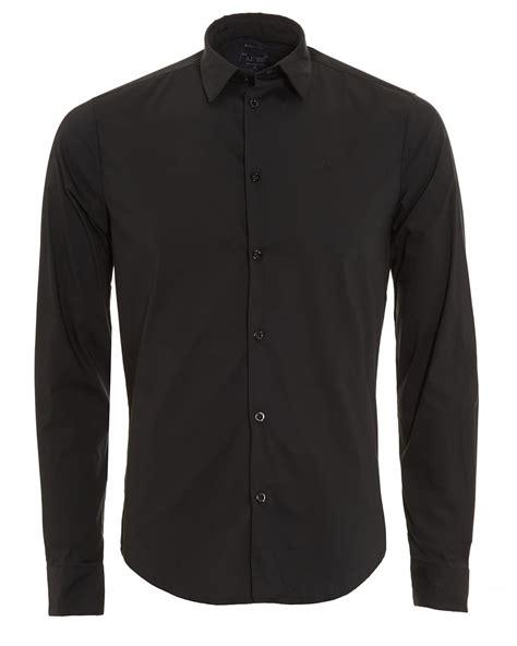 Plain Fit Shirt armani mens plain black slim fit shirt