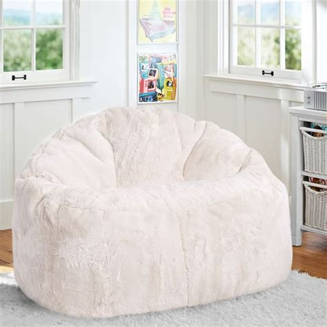 furry sofa ivory polar bear faux fur cloud couch pbteen