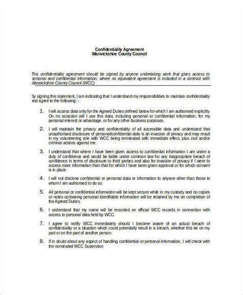 8 Personal Confidentiality Agreements Free Sle Exle Format Download Sle Templates Personal Assistant Confidentiality Agreement Template