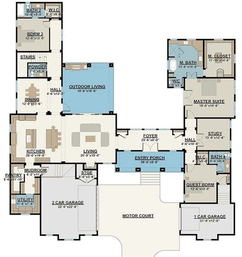 house plans with game room plan 430008ly courtyard entry 4 bed house plan with