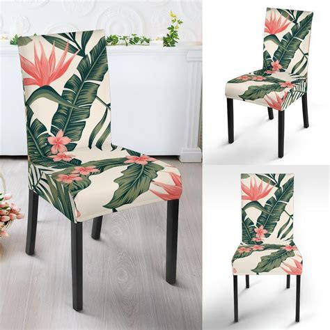 tropical flower palm leaves dining chair slipcover