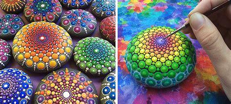acrylic paint nedir artist turns stones into tiny mandalas by painting