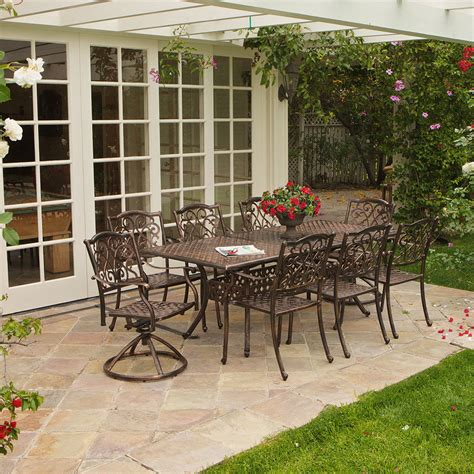 8 Chair Patio Set Outdoor Patio Furniture 9pcs Expandable Table 8 Chairs Cast Aluminum Dining Set Ebay