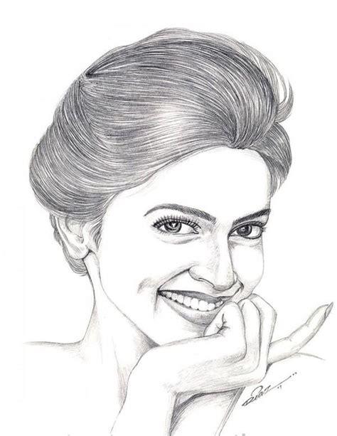 pencil sketch of deepika padukone