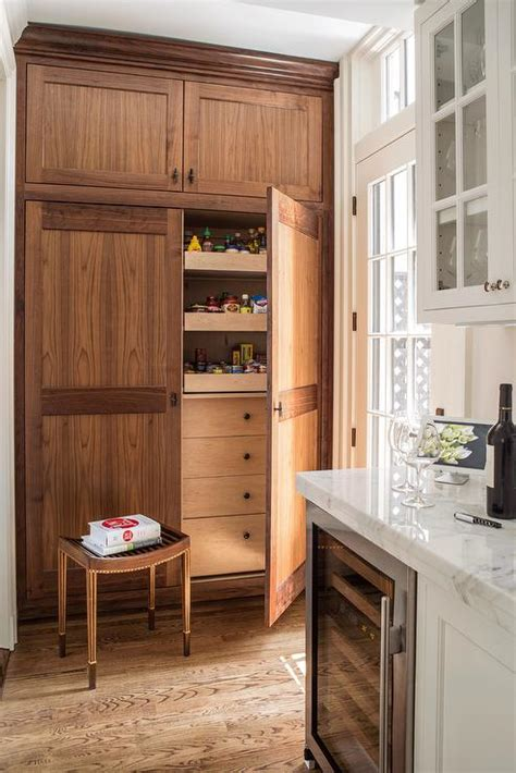 oak kitchen pantry  pull  shelves transitional