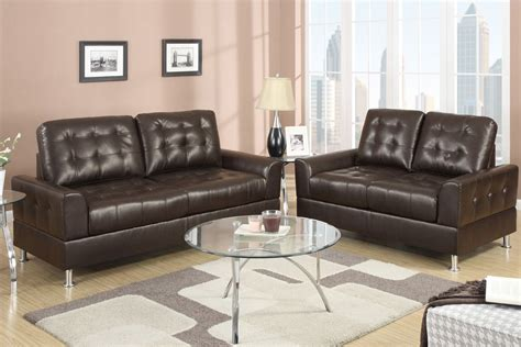 leather sofa and loveseat sets poundex bailey f7563 brown bonded leather sofa and