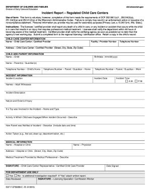 Incident Report Exle Childcare incident report child care centers dcf f 0055 wisconsin fill printable