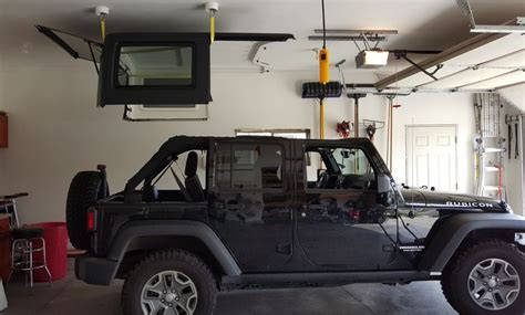 Jeep Roof Hoist Electric Hoist And Lift Installed In Garage For Jeep