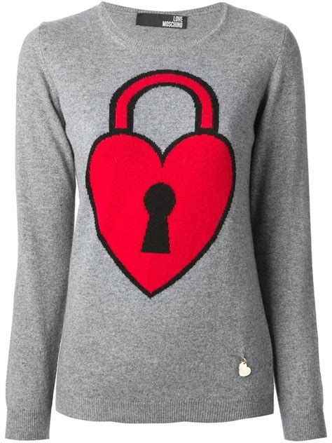 Sweater Normal Heartbeat Abu lyst moschino padlock sweater in gray