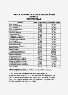Tabela de preços para a confecção de roupas sob medida