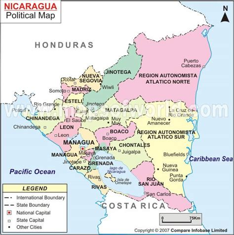 political map of nicaragua nicaragua map