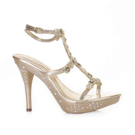 womens gold high heel ankle evening wedding prom