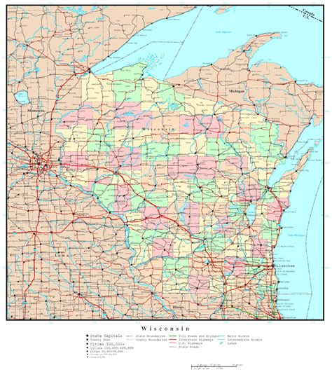 wisconsin state map wisconsin political map