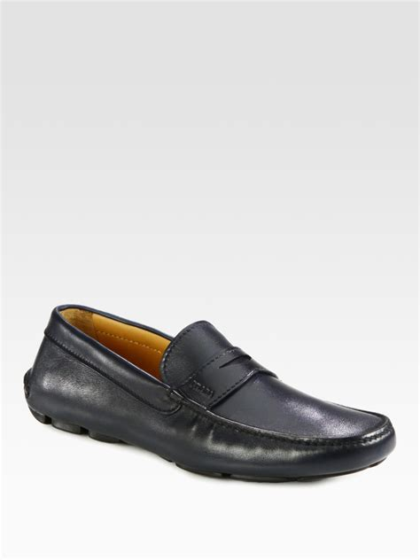 loafer drivers prada loafer drivers in blue for lyst