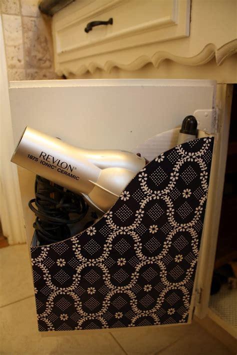 Hair Dryer Organizer Diy magazine holder for hair dryer storage attach it to the