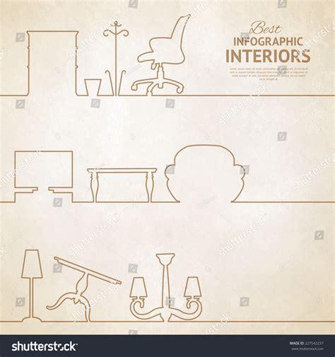 interior design elements vector flat style card with interior design elements vector