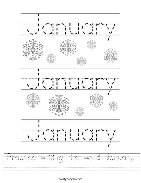 Free Printable January Activity Sheets | practice writing the word january worksheet twisty noodle