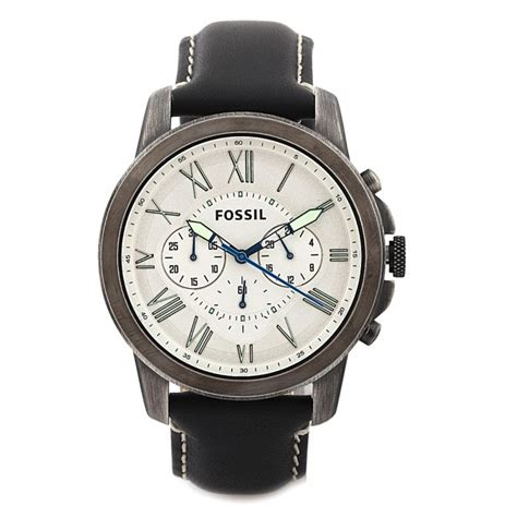 fossil s fs4921 grant chronograph black leather