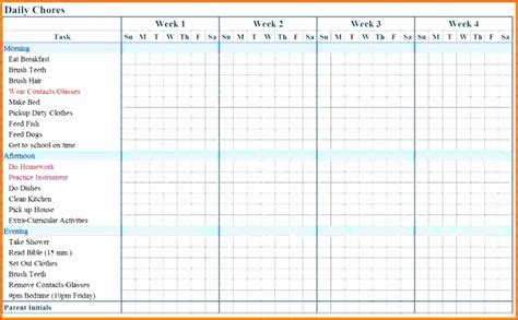 5 Chore Chart Template Excel Exceltemplates Exceltemplates Monthly Chore Chart Template Excel