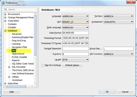 Sql Insensitive Search How To Edit Nls Parameters In Toad For Oracle And Oracle Sql Developer