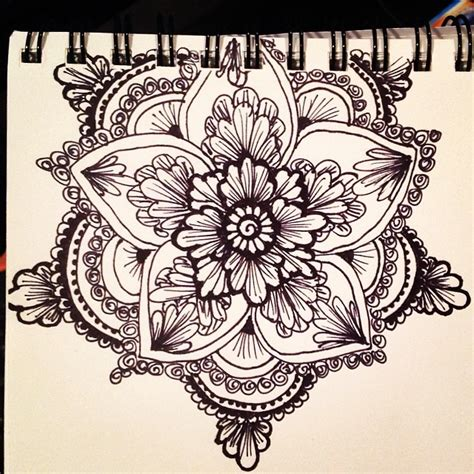 mandala tattoo artist nyc henna style floral mandala with a sharpie fine point