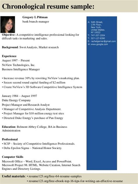 Resume Sles For Branch Banking Manager top 8 bank branch manager resume sles