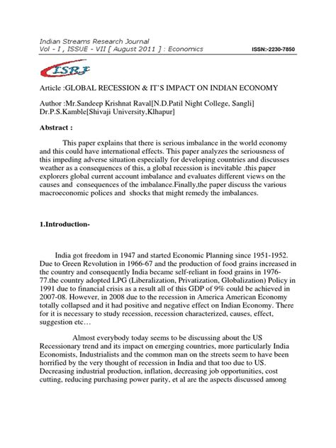 Essay On Globalization And Its Impact On Indian Culture by Global Recession And Its Impact On Indian Economy Paper In Journal Recession Inflation