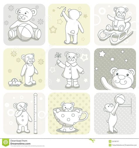 baby sts for card baby card set stock vector illustration of silhouette