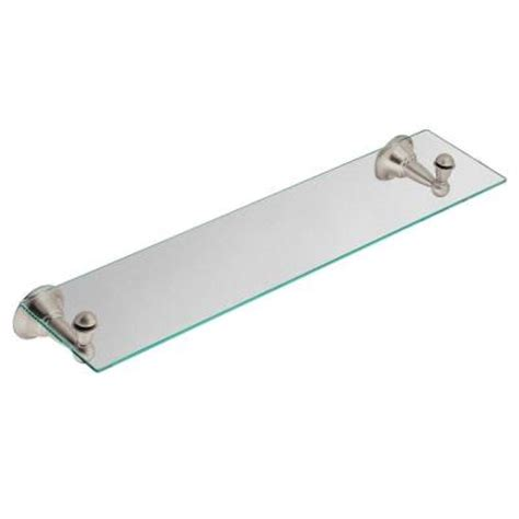 bathroom glass shelves brushed nickel moen sage 25 in w glass bath shelf in spot resist brushed