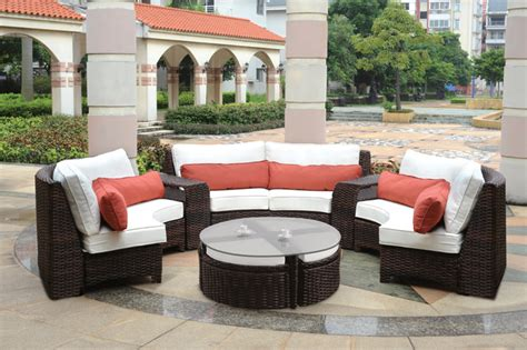 Rattan Upholstery Fabric Modern Wicker Sectionals
