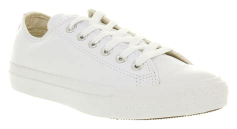 converse all leather ox low white mono trainers shoes