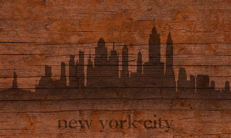 woodwork new york new york city skyline silhouette distressed on worn
