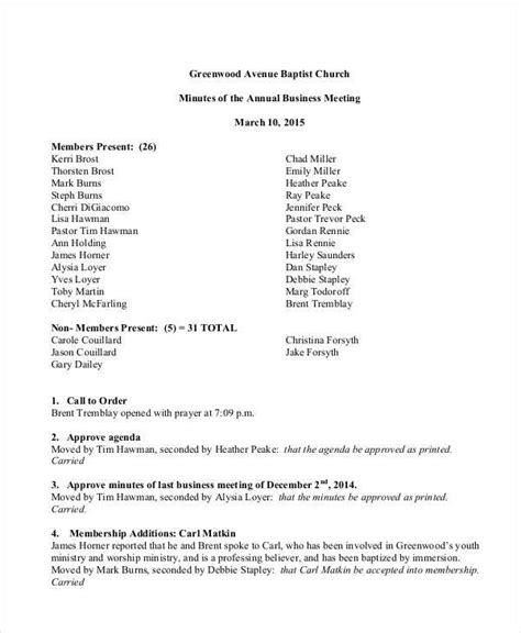 church annual business meeting minutes template