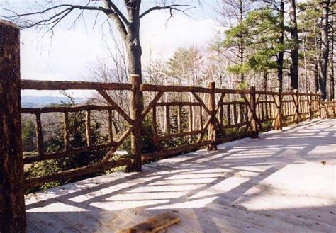 rustic garden fencing gates wooden deck log porch
