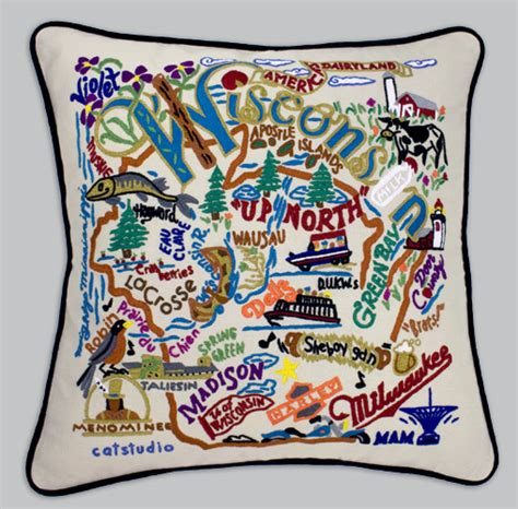 Embroidered State Pillows by Cat Studio Embroidered State Pillow Wisconsin